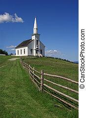 poco, blanco, iglesia, en, un, colina