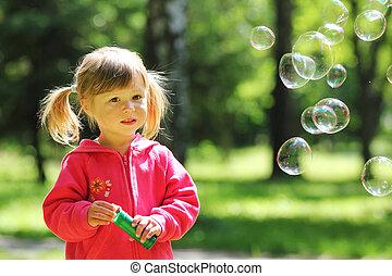 poco, bolla, ragazza