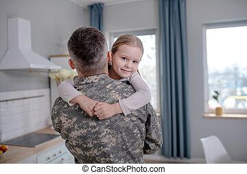 poco, braccia, felice, militare, figlia, officer.