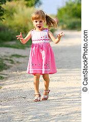poco, brazos, corriente, niña, abierto, feliz