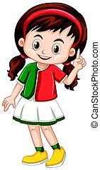 poco, camisa verde, niña, rojo