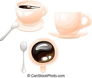 poco, campanelle, cucchiaio, argento, set, caffè