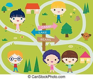 poco, campeggiare, felice, bambini estate