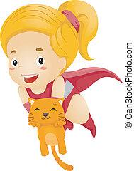 poco, capretto, ragazza, superhero, salvataggio, uno, gatto