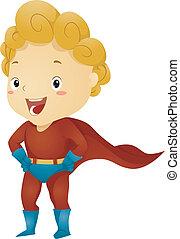 poco, capretto, ragazzo, superhero, fare, superhero, atteggiarsi