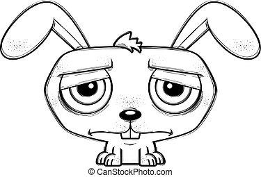 poco, caricatura, conejo, deprimido