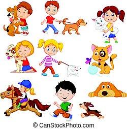 poco, caricatura, niños, su, mascotas