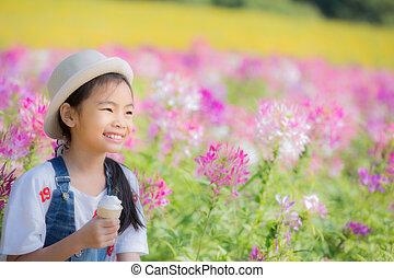 poco, carino, ragazza asiatica