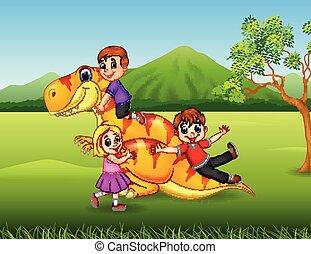 poco, cartone animato, dinosauro, giungla, gioco, capretto