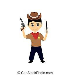 poco, cartone animato, illustrazione, cowboy