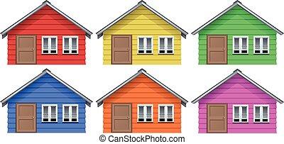 Casa Azul Colores Conjunto Azul Conjunto Casa Ilustración
