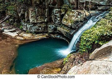poco, cascata, dondolare piscina