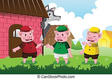 poco, cerdos, lobo, tres