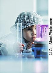 poco, científico, laboratorio, niño