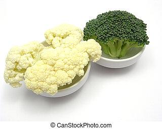 poco, coliflor, tazones, posada, chinaware, bróculi