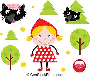 poco, &, collezione, nero, cappuccio, sentiero per cavalcate, lupo, rosso, icona