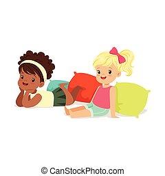 poco, colorito, seduta, pavimento, dolce, ragazze, due, dire bugie, carattere