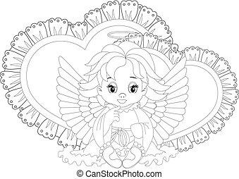 poco, coloritura, pagina, angelo