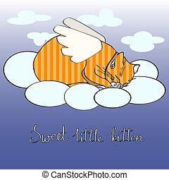poco, come, angelo, dolce, manifesto, gattino