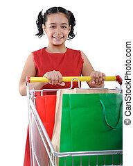 poco, compras, comprador, carrito, niña, vestido, rojo