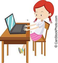 poco, computadora, niña, trabajando