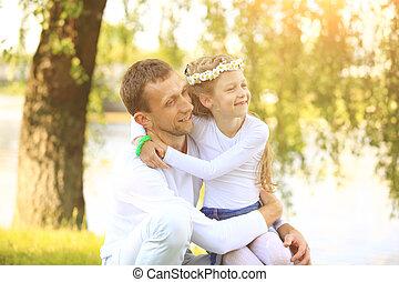 poco, concetto, figlia, padre, -, abbracciare, paternità, felice