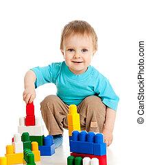 poco, conjunto, encima, alegre, construcción, plano de fondo, niño, blanco