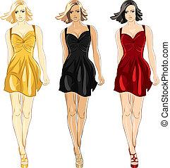 poco, conjunto, oro, colores, vector, negro, vestido, rojo