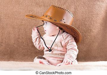 poco, cowgirl, dolce, equipaggiamento, ragazza bambino