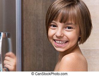 poco, cuarto de baño, niña