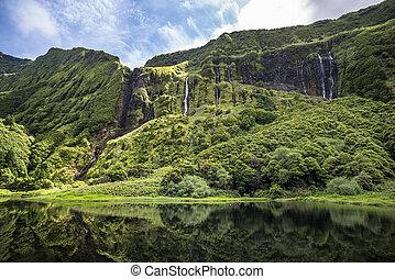 Poco da Ribeira do Ferreiro, Flores island, Azores, Portugal...