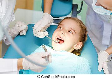 poco, dentista, ragazza, visitare