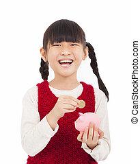 poco, dinero, cerdito, niña, excepto, banco, feliz