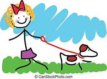 poco, disegno, ragazza, cane