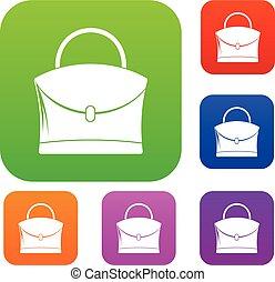 poco, donna, colorare, sacchetto raccolta, set