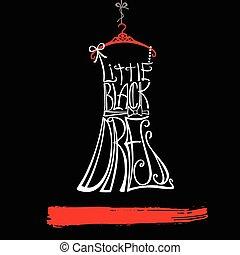 poco, donna, dress., bianco, nero, silhouette., vestito rosso