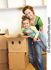 poco, donna, scatole, ragazza, cartone