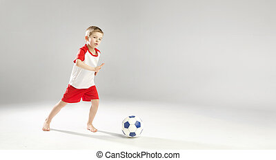 poco, dotato, ragazzo gioca football