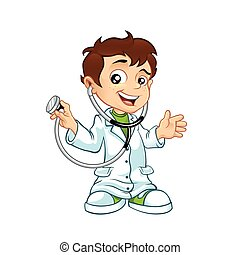 poco, dottore, maschio, carino, sorridente