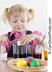 poco, eggs', retrato, durante, niña, pascua, coloration