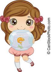 poco, ella, mascota, pez, ilustración, proceso de llevar, acuario, niña