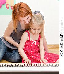 poco, ella, piano, madre, niña, juego