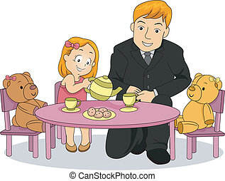 poco, ella, té, padre, chica partido, juego, niño