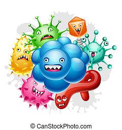 poco, enojado, plano de fondo, viruses.