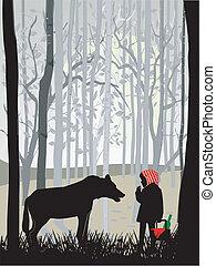 poco, equitación, rojo, capucha