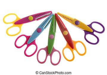 poco, estudiante, colorido, plástico, tijeras