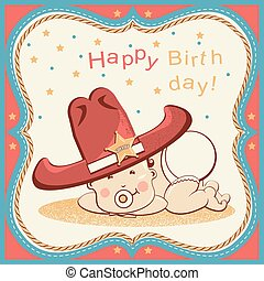 poco, felice, bambino, scheda, compleanno, sceriffo, cappello, cowboy, grande, occidentale