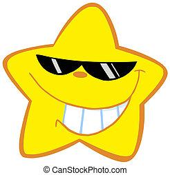 poco, feliz, gafas de sol, estrella