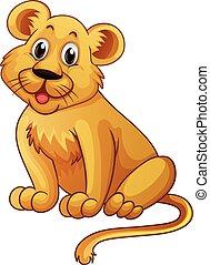poco, feliz, león, cara