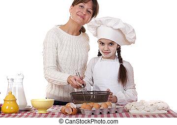 poco, figlia, cottura, madre, gioioso, felice